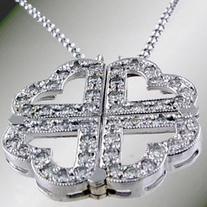 Diamond Magnetic Heart Necklace .67CT 14KT W Chain